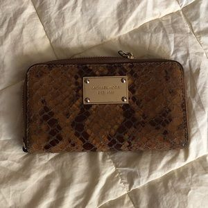 Michael Kors Brown Snakeskin Leather Clutch Wallet